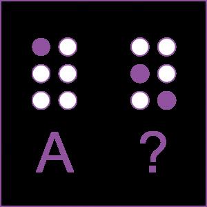 Sinal em braille da letra A, com a indicação do ponto 1. Sinal de interrogação, com a indicação dos pontos 2 e 6.