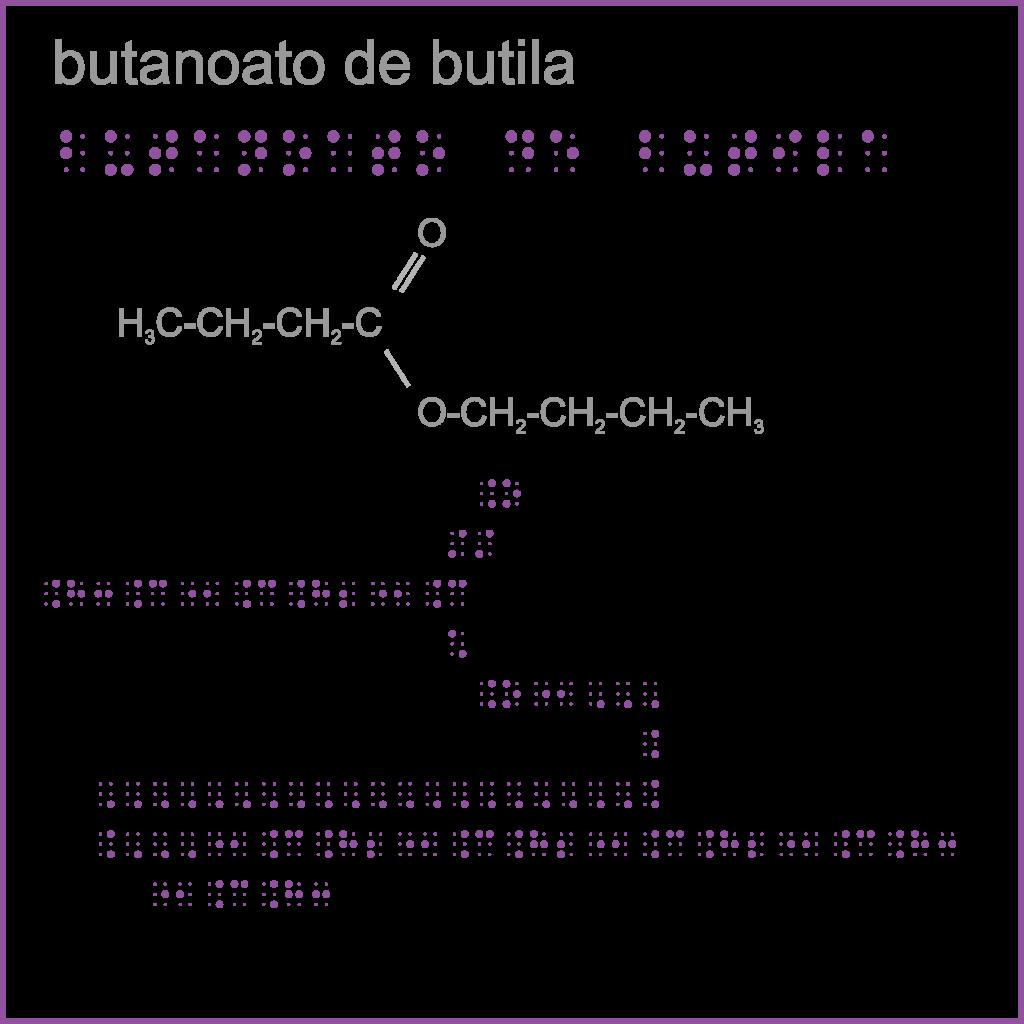 Representação química em braille: butanoato de butila