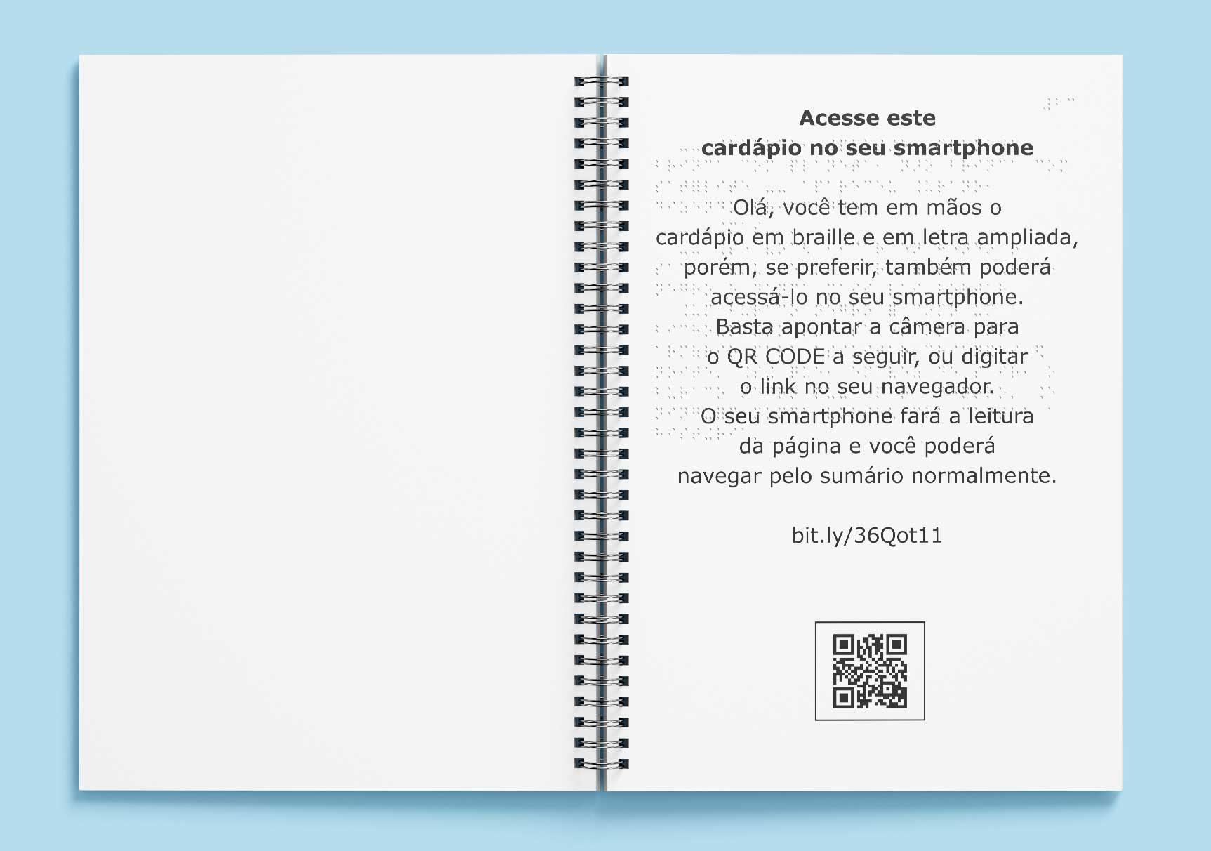 Cardápio em braille com QR CODE na primeira página.